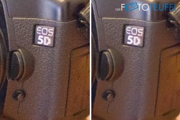 Vergleich ISO 25600 mit und ohne Rauschreduzierung